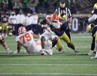 Notre Dame controlling line of scrimmage at halftime